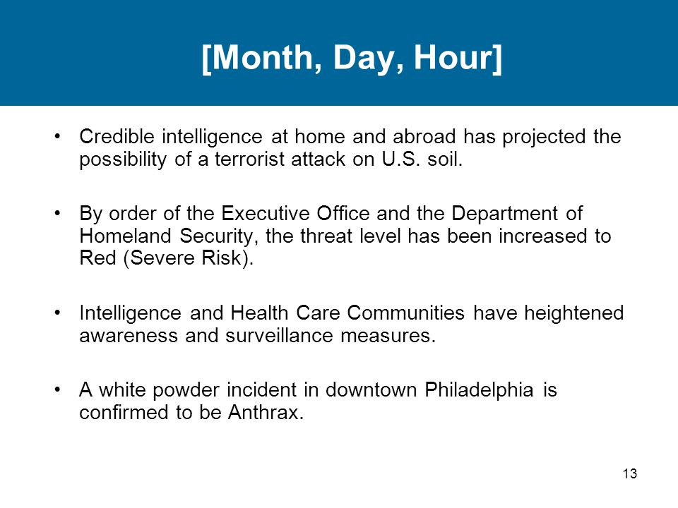 [Month, Day, Hour] Credible intelligence at home and abroad has projected the possibility of a terrorist attack on U.S. soil.
